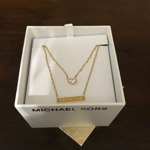 Micheal Kors Gold Heart and Bar Necklace